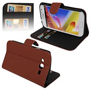 Litchi Texture Horizontal Flip Leather Case with Credit Card Slots & Holder for Samsung Galaxy Grand Duos / i9082 (Brown)
