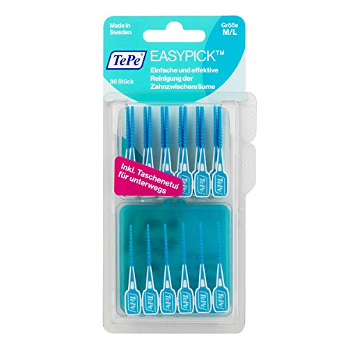 TePe EasyPick Dental Picks for Daily Oral Hygiene and Healthy teeth and gums / Size M/L / 1 x36 Picks
