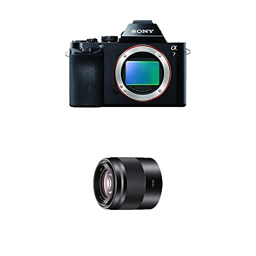 Sony ILCE7B Full Frame Compact System Camera Body with Sony SEL50F18 E Mount – APS-C 50mm F1.8 Prime Lens, Black