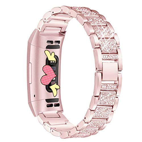 Diamonds Rose Alligator Watch - AutumnFall Bling Band Stainless Steel Crystal Bracelet Smart Watch Band Strap for Fitbit Charge 3 (Rose Gold)