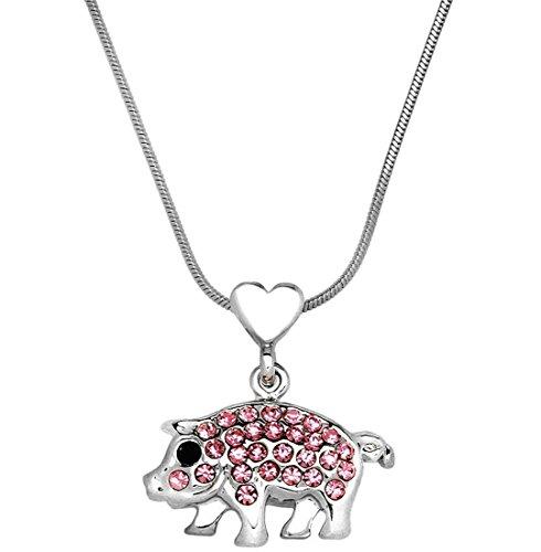 DianaL Boutique Adorable Little Pig Piggy Pendant Necklace Pink Crystal 17