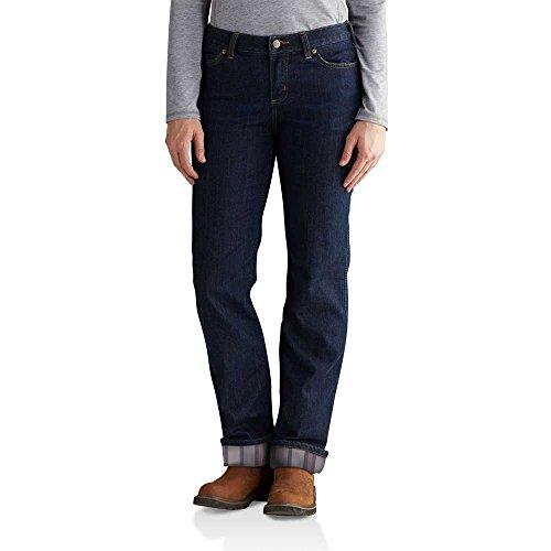 Carhartt Women's 102729 Women's Blaine Flannel Lined Original Fit Jean - 12W x Regular - Midnight Sky/Gray