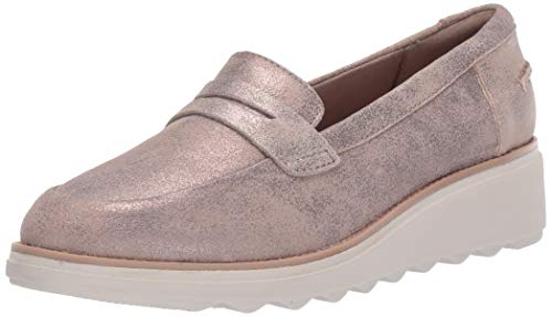 CLARKS Women's Sharon Ranch Penny Loafer, Pewter Suede, 070 M US