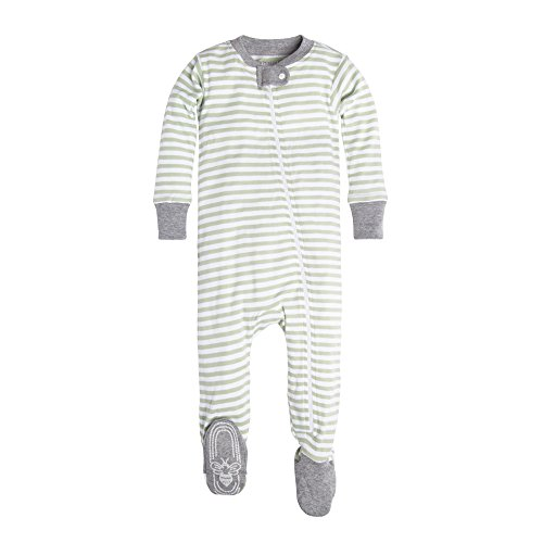 Green Footed Sleeper Pajamas (Burt's Bees Baby Baby Boys' Infant Organic Stripe Zip Front Non-Slip Footed Sleeper Pajamas, Cactus Mini Stripe, 0-3 Months)