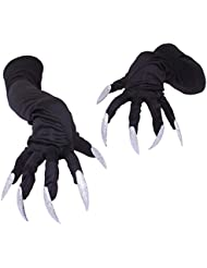 Sasairy Halloween Cosplay Long Nails Gloves, Long Fingernail Halloween Props Monster Claws Halloween Costume Gloves for Men and Women 50 cm (Black)