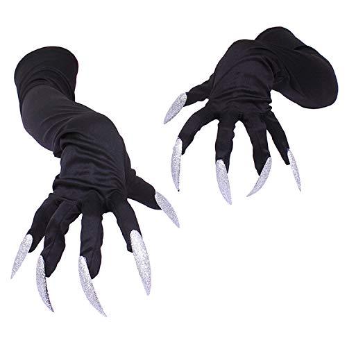 Sasairy Halloween Cosplay Long Nails Gloves, Long Fingernail Halloween Props Monster Claws Halloween Costume Gloves for Men and Women 50 cm (Black) -