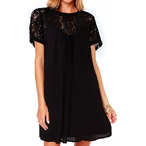 vanberfia Women's Lace Short Sleeve Loose Casual Chiffon Dress (XXL, 7880)