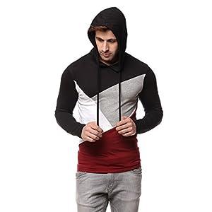 GRITSTONES Men Cotton Black/Maroon Hooded T-Shirt
