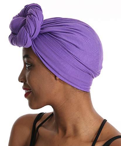 Women Head Wrap Scarf - Purple Satin Silk Hair Wrap,Stretch Jersey Knit Black African Long Turbans Hat Hijab,Hair Ties,HairMuslimBohemianBoho Headband