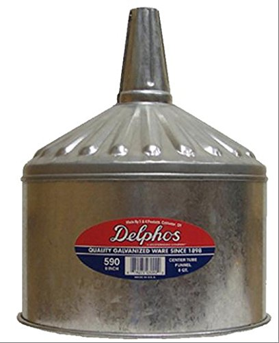 Lubeq 02354 Galvanized Steel Funnel, 9 Inch Diameter, 8 Quarts