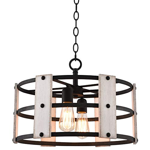 "Kira Home Madera 17"" 4-Light Modern Farmhouse Chandelier + Wood and Metal Round Shade, 2 Wood Panel Styles, Textured Black Finish"