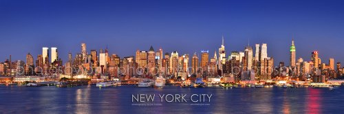 New York City NYC Midtown Manhattan Skyline PHOTO PRINT UNFRAMED DUSK Color 11.75 inches x 36 inches Photographic Panorama Poster Picture Standard Size