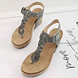 Women T-Strap Wedges Sandals, NDGDA Ladies Casual