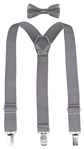 lilax-boys-solid-color-adjustable-elastic-suspender-bow-tie-for-kids-and-baby-26-gray