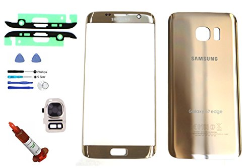 (md0410) Galaxy S7 EDGE OEM GOLD Front Outer Glass Lens Screen Back Glass Battery Door Housing Camera Flash Lens Cover Adhesive UV LOCA Glue Full LCD Digitizer Repair Kit Replacement G935 - Galaxy S4 Screen Replacement Gold