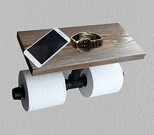 - 2 in 1 Roll Toilet Paper Holder Shelf for Mobile Phone Storage in Bath,Rustic Style Pipe Design Brown Wood & Black Metal Wall Mounted Bathroom Shelf/ 3/4 inch Pipe