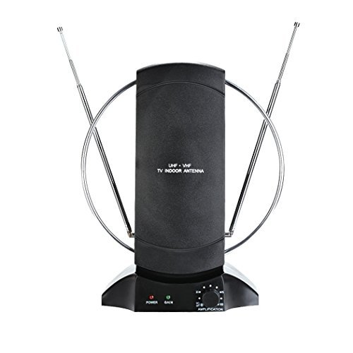 High-definition Digital Indoor Antenna 50 Miles Range UHF/VHF/FM Rotating Antenna, US Plug ()