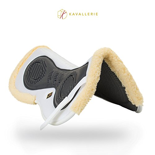 Kavallerie 3D Air-Mesh Fleece, Shock-Absorbing Fleece-Lined Half pad with Therapeutic Gel Padding for Maximum Support, Best for Dressage, Jumping, Riding, Training, Eventing, Showing- White