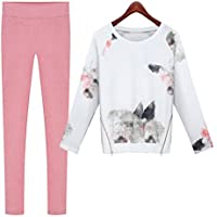 KAKA(TM) Girl Women Winter Autumn Fashion Sport Casual Suit Ink and Wash Painting Pattern XXL