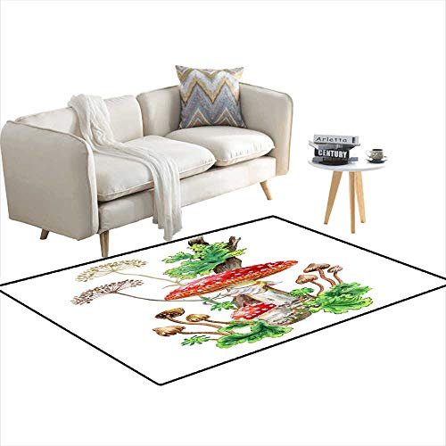 (Extra Large Area Rug Bouquet of Mushrooms Watercolor 40