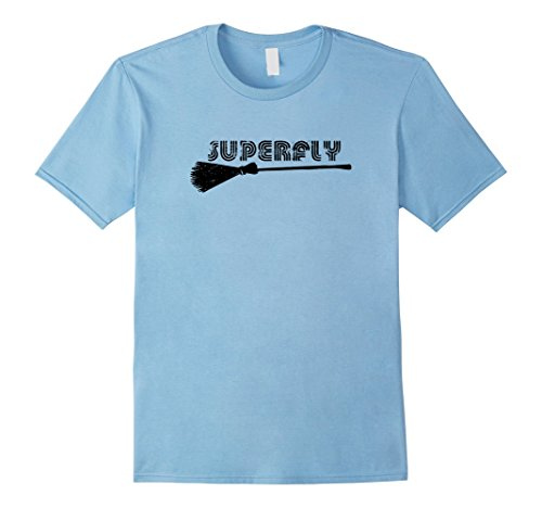 [Mens Superfly Super Fly Pun Halloween Tshirt 2XL Baby Blue] (Plus Size Mystic Witch Costumes)