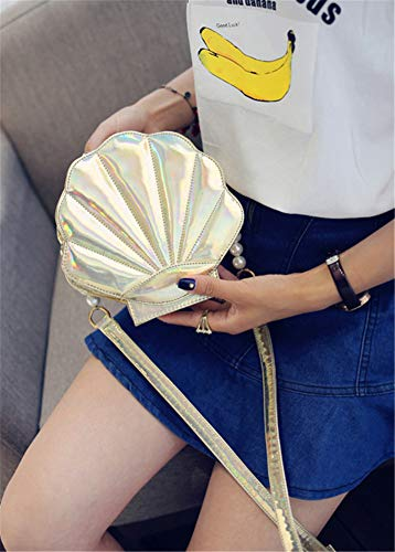 Leather Pearl Shell Purse body Remeehi Cross Shoulder Bags Hologram Womens Gold 6IqwwER