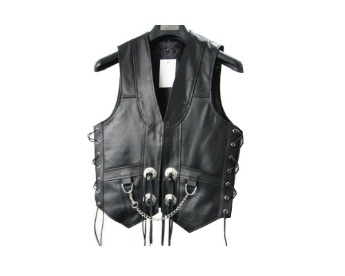 Mens Leather Chain Concho Motorcycle Biker Vest lll-304 (Medium (Chest 40