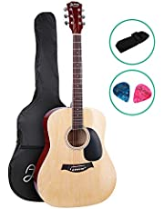 41 Inch Acoustic Guitar Wooden with Carry Bag ALPHA - Natural