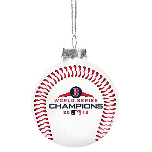 (FOCO Boston Redsox 2018 World Series Champions Christmas Holiday Glass Ball Ornament)
