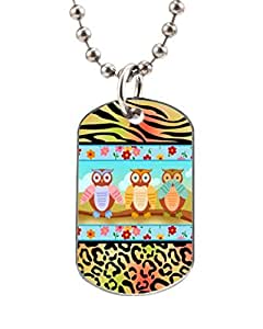 Mini Owls on Zebra and Leopard Print Customized Dog Tag Pet Tags Dogtag Necklace Charm Unique Gift