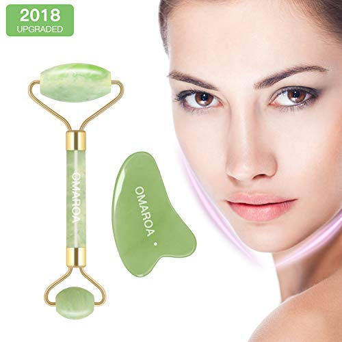 Jade Roller for the Face with Massager and Anti-Aging, Jade Roller for Face Real Jade 100% Jade, Suitable for Face Body and Eyes Treatment.