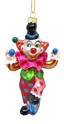 Midwest-CBK Clown on Unicycle Hanging Glass Christmas Ornament by Midwest-CBK