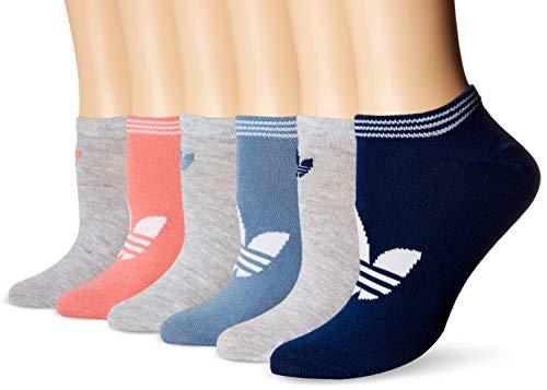 adidas Womens Originals Trefoil No Show Socks (6-Pack), mystery blue/white/light heather grey/raw grey/Tac, 5-10
