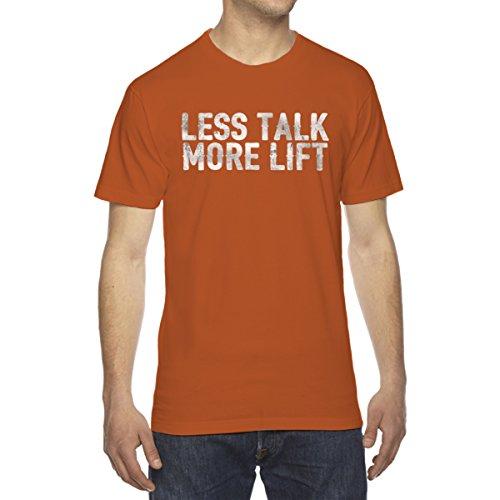 Less Decal Set - Less Talk More Lift Men's Crew Neck Cotton T-Shirt - [Sunset][X-Large]