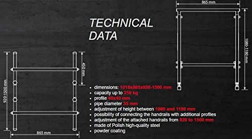 Altura Regulable en 3/Niveles 108/ Nuevos Parallele con Base AD Incastro /118/cm K-Sport Nuova Linea