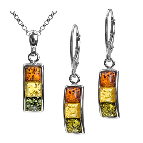 - Sterling Silver Multicolor Amber Square Earrings Pendant Set Chain 18 Inches