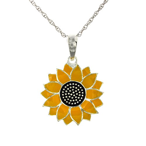 925 Sterling Silver Flower Necklace Charm Pendant with Chain, 2-D Sunflower, Yellow Enamel, with 18 Inch Chain