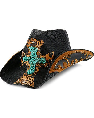 [Shyanne Women's Turquoise Leopard Cross Cowgirl Hat Black One Size] (Leopard Cowboy Hat)