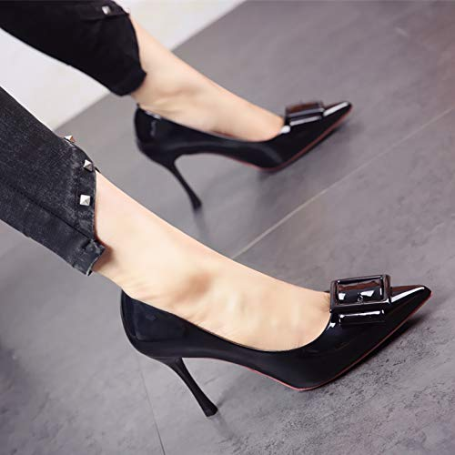And Tide heels Wedges Female Spring Black Mosaic Heels Women'S Fashion Yukun Shoes Red Mouth Autumn Shoes Pointed High Pu Shallow 37 Sequins High Single wYSW5Fxnq