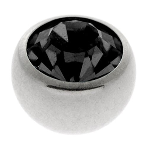 Steel Threaded Jewelled Balls - Black 1.2 x 3mm ()