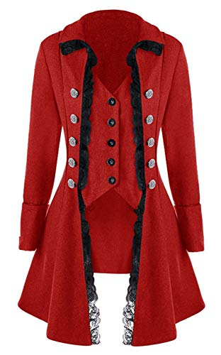 LETSQK Victorian Steampunk Gothic Corset Halloween Costume Coat Tailcoat Jacket Red XL ()
