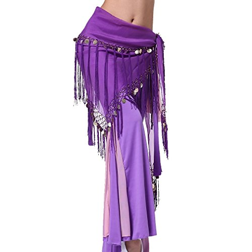 ZLTdream Women's Belly Dance triangler Hip Scarf With Coins Purple -