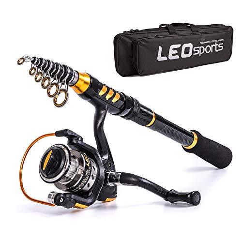 LEO Ultra short Portable Telescopic Fishing Rod and Reel Combos, Carbon Fiber Mini Ultralight Short Paragraph Fishing Pole, For Travel, Lake, Sea, River Fishing (Fishing Rod And Reel, 180 1.8M/5.91Ft)