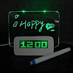 Digital Alarm Clock,Luminous LED Fluorescent Message Board LCD Calendar with 4 Port Usband Night Light for Home, Office Gift,Green-Light