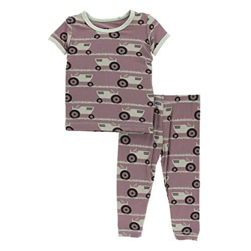 Kickee Pants Little Girls and Boys Print Short Sleeve Pajama Set - Raisin Tractor and Grass, 2T (Infant Girl Raisin)