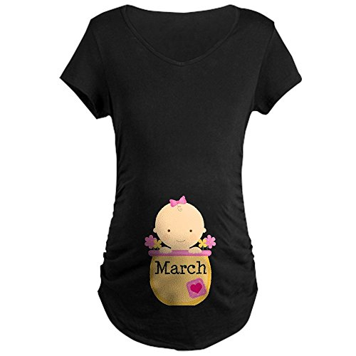 CafePress - March Baby Maternity Dark T-Shirt - Cotton Maternity T-shirt, Side Ruched Scoop Neck (Maternity March Baby T-shirt)
