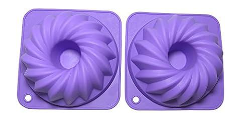 Bakerpan Silicone Mini Bundt Cake Pan, 4 3/4 Inch Mini Cake Mold - Set of 2 (Small)
