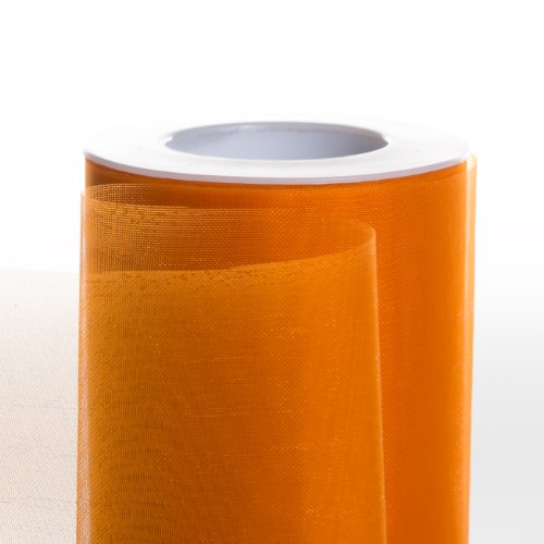 Koyal Wholesale 25-Yard Sheer Organza Fabric Roll, 6-Inch, Orange