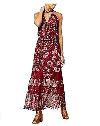 American Rag Juniors' Printed Choker Maxi Dress (Red, XS)