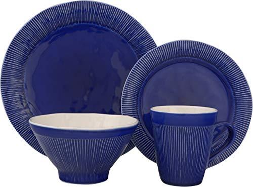 Sango 3591BL800ACM14 Chromatic 16-Piece Stoneware Dinnerware Set, Blue